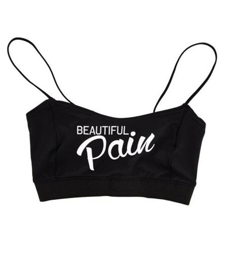 STANIK WAKE UP AND SQUAT  BEAUTIFUL PAIN BRA TOP BLACK
