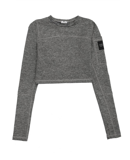 WAKE UP AND SQUAT - Longsleeve Crop Top Gray Basic
