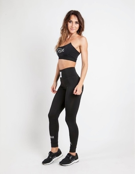LEGGINSY WAKE UP AND SQUAT - BLACK, ODBLASK
