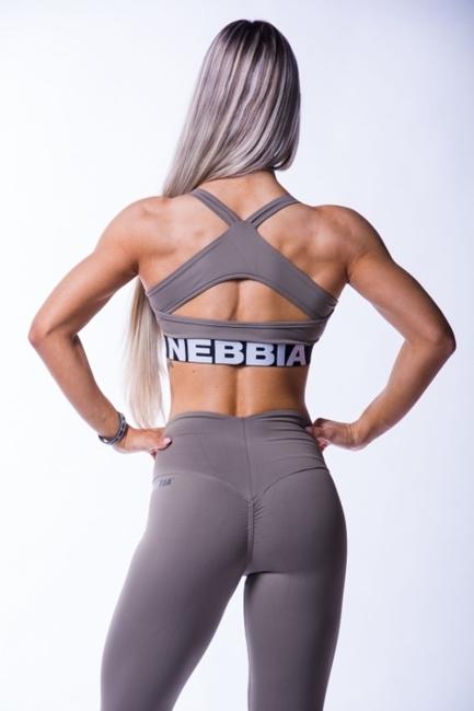 NEBBIA - Sportowy TOP OPEN BACK MODEL N620 MOCHA NEBBIA