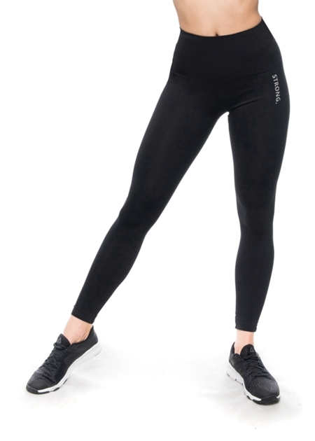 STRONG. - MODELUJĄCE LEGGINSY BEZSZWOWE BLACK, LOGO (PUSH UP)